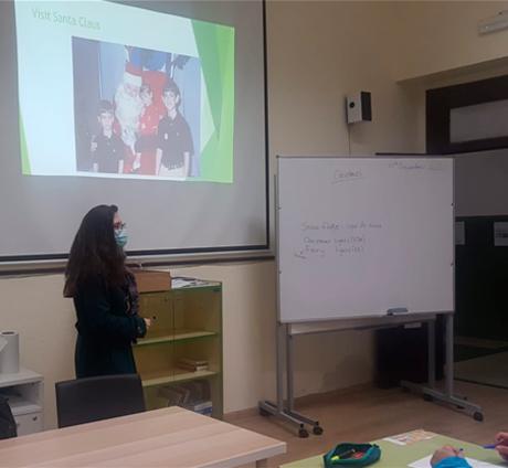 Meg at her class in her school in Spain