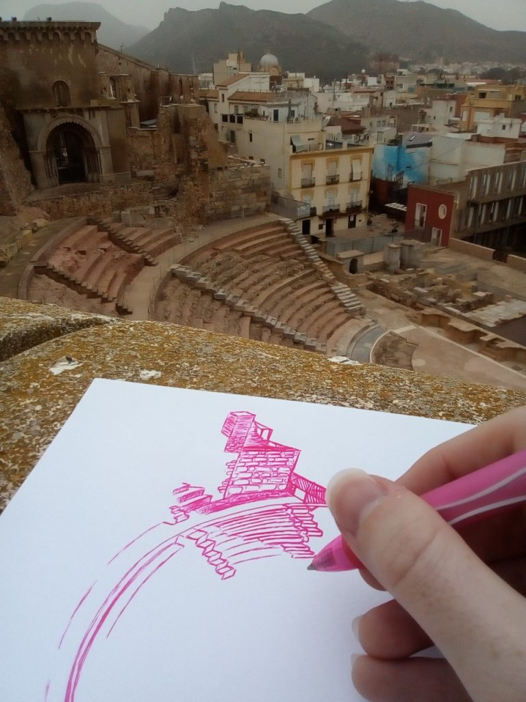 Roman Theatre Drawing Cartagena